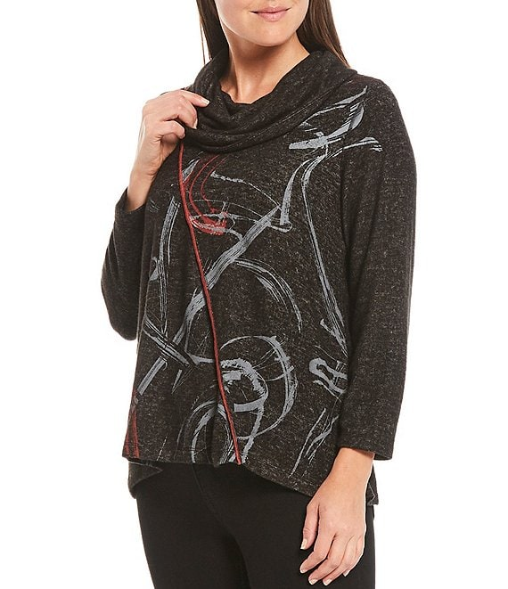 Color:Dark Grey - Image 1 - Petite Size Abstract Print Cowl Neck 3/4 Sleeve Heathered Knit Sharkbite Hem Top