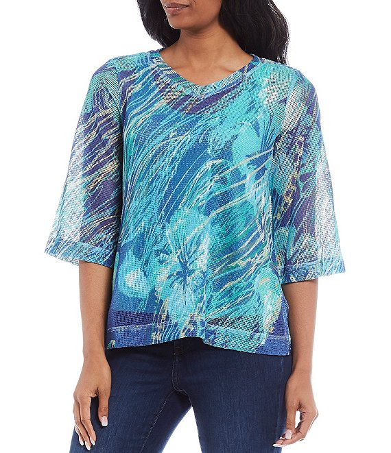 Color:Teal Print - Image 1 - Petite Size Abstract Print V-Neck Mesh Top