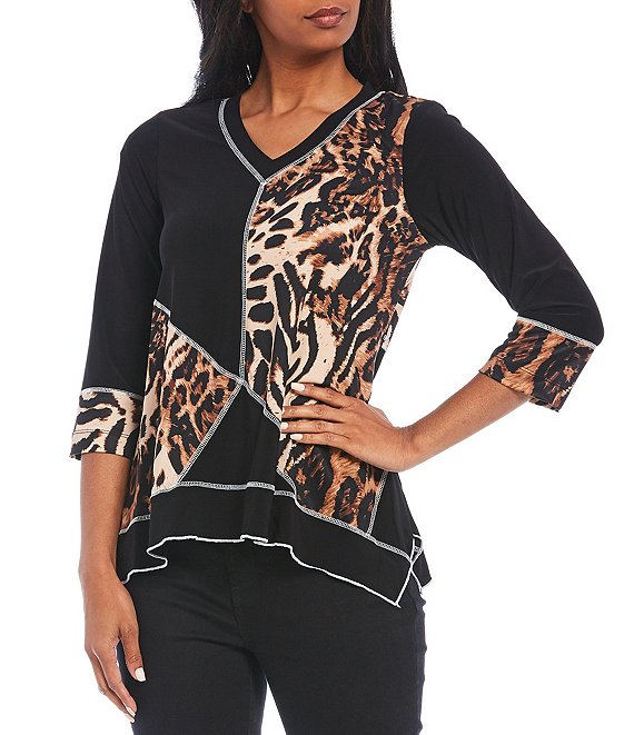 Color:Black/Animal - Image 1 - Petite Size Mix Animal Print Colorblock V-Neck Sharkbite Top
