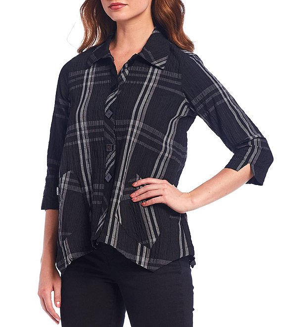 Color:Black - Image 1 - Petite Size Pucker Crinkle Plaid Button Front Asymmetrical Hem Blouse