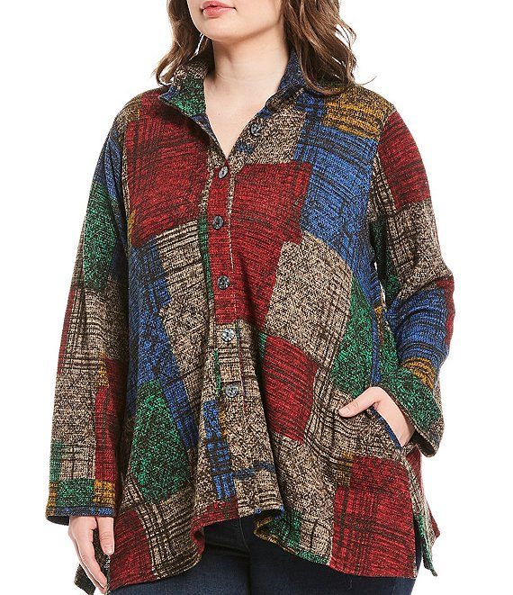 Color:Plaid Multi - Image 1 - Plus Size Knit Sketch Plaid Button Front Tunic With Pockets