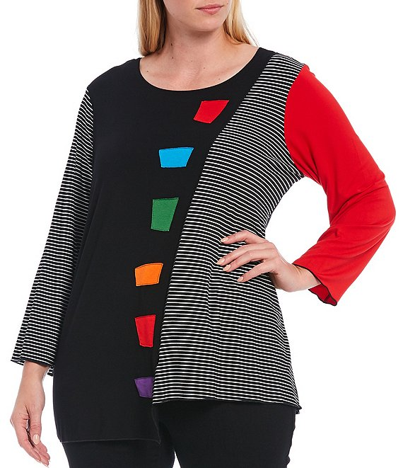 Color:Multi - Image 1 - Plus Size Stripe Print Colorblock 3/4 Sleeve Asymmetric Knit Top