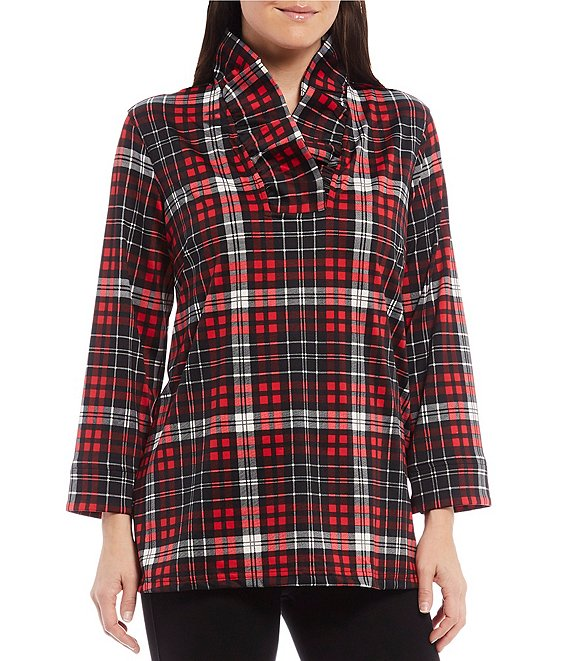 Color:Red Print - Image 1 - Tartan Plaid Ruffle V-Neck 3/4 Sleeve Tunic
