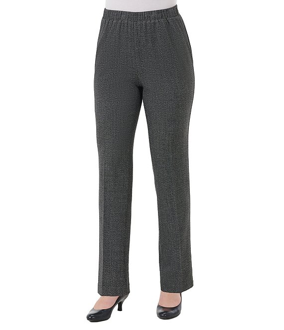 Color:Black Combo - Image 1 - Petite Size Modern Straight Leg Pull-On Pants
