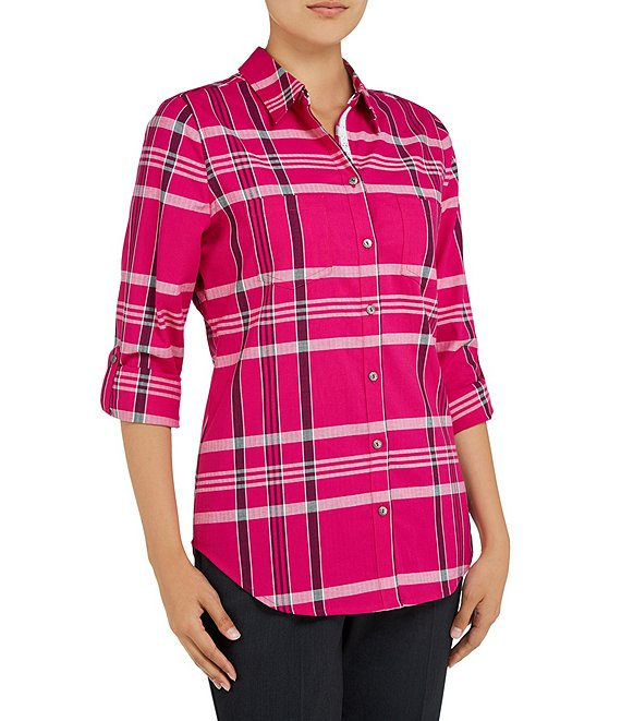 Allison Daley Petite Size Roll-Tab Sleeve Plaid Button Front Shirt