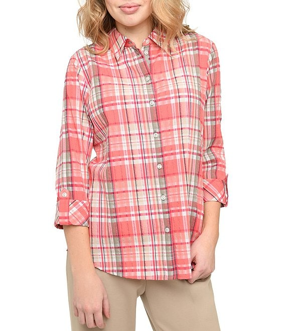 Allison Daley Petite Size Roll-Tab Sleeve Plaid Crinkle Plaid Shirt