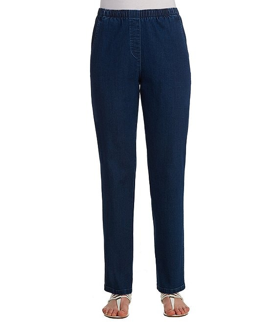 Color:Indigo - Image 1 - Plus Mock-Fly Pull-On Pants
