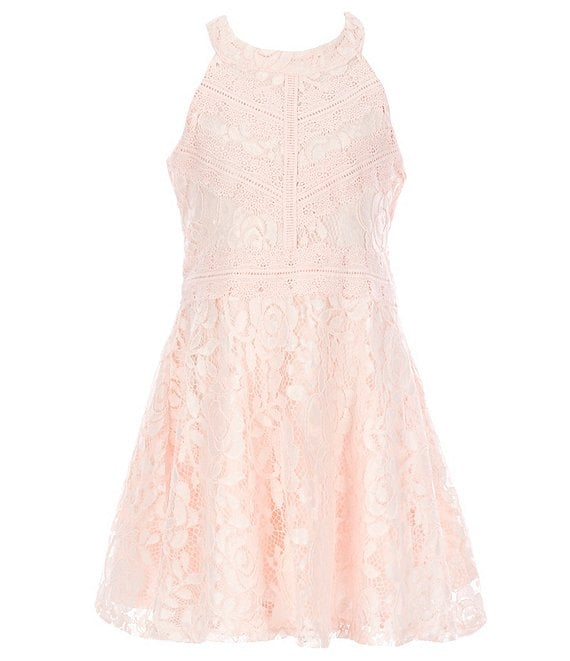 Color:Blush - Image 1 - Big Girls 7-16 Lace-Trim Fit-And-Flare Dress