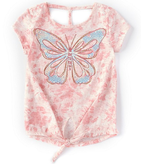 Color:Blush - Image 1 - Big Girls 7-16 Short-Sleeve Tie-Dye Butterfly Graphic Tee