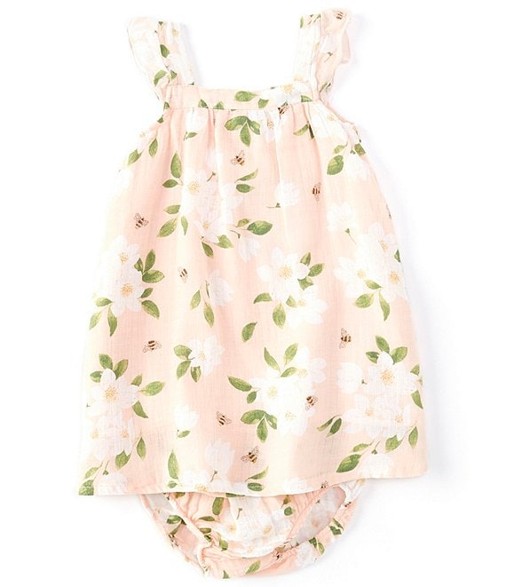 Color:Pink - Image 1 - Baby Girls 6-24 Months Magnolia Print A-Line Sundress