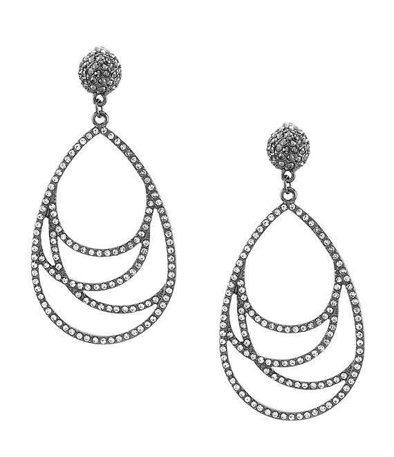 Anna & Ava Abstract Pave Teardrop Statement Earrings