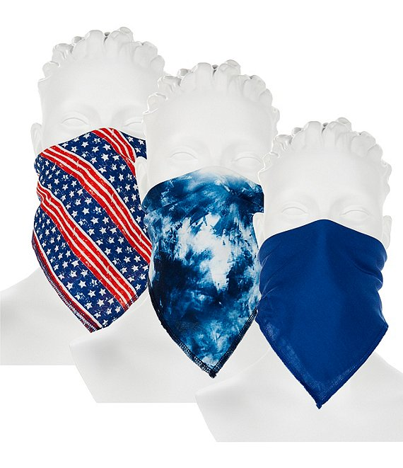 Color:Multicolor - Image 1 - Americana Handkerchief Cloth Face Mask 3-Piece Set