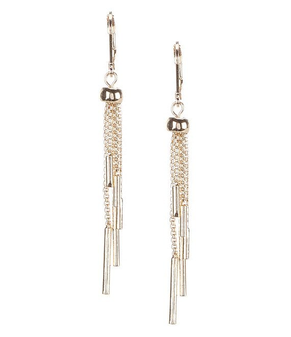 Color:Gold - Image 1 - Box Chain Tassel Earrings