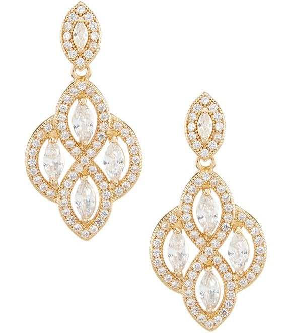 Color:Gold/Crystal - Image 1 - Chandelier Earrings