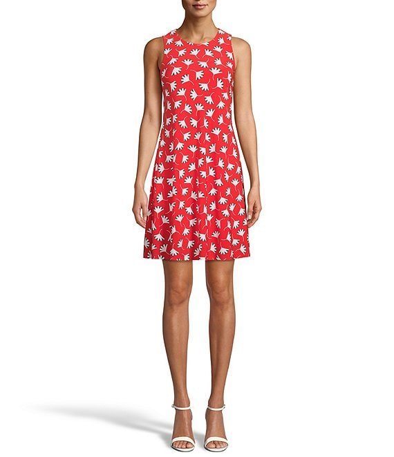 Color:Poppy Anne White - Image 1 - Floral Print Jersey Trapeze Dress