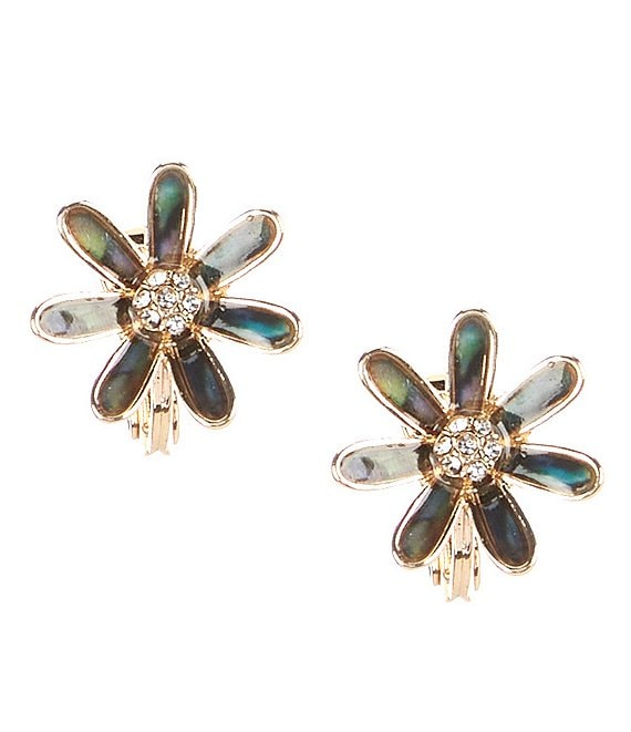 Color:Multicolor - Image 1 - Flower Button Clip-On Earrings