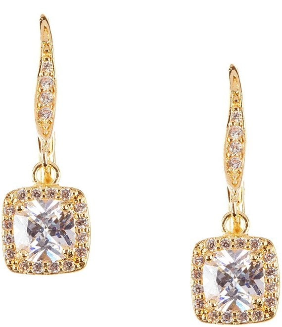 Color:Gold - Image 1 - Pavé Crystal Drop Earrings