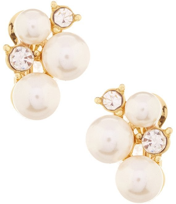 Color:Gold/Pearl - Image 1 - Faux-Pearl Cluster Clip-On Earrings