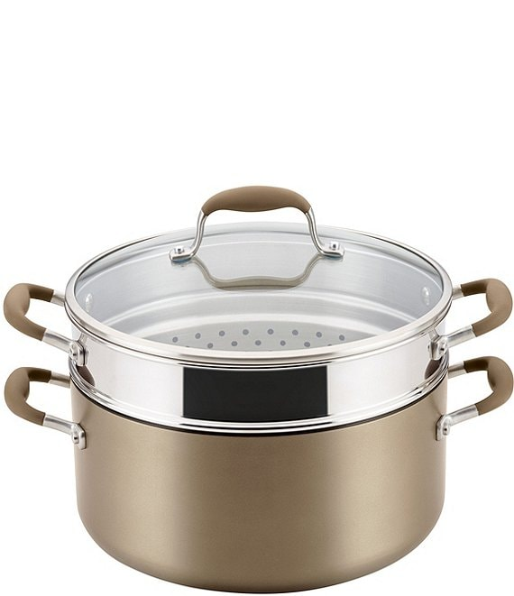 Color:Bronze - Image 1 - Advanced Home Hard-Anodized Nonstick Wide Stockpot with Multi-Function Insert
