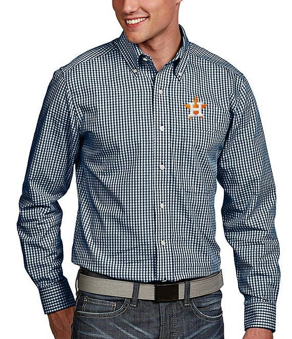 Color:Astros Navy - Image 1 - MLB Associate Long-Sleeve Woven Shirt