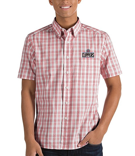 Color:Los Angeles Clippers Dark Red - Image 1 - NBA Crew Short-Sleeve Woven Shirt