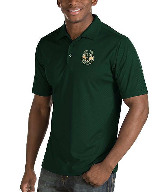 Color:Milwaukee Bucks Dark Pine - Image 1 - NBA Inspire Short-Sleeve Polo Shirt