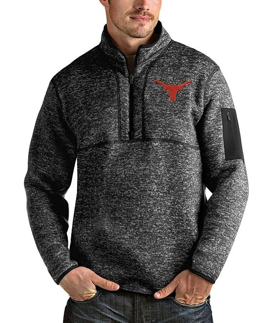 Color:Texas Longhorns Black Heather - Image 1 - NCAA Fortune Quarter-Zip Pullover
