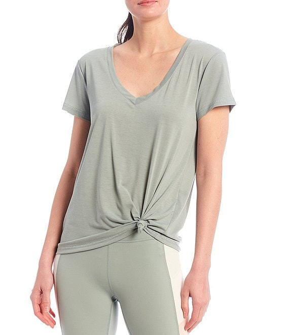 Color:Herbal - Image 1 - Active Impact V-Neck Short Sleeve Relaxed Fit Knotted Tee