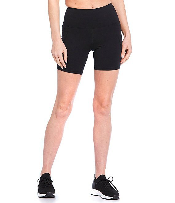 Color:Black - Image 1 - Active Power 6#double; High Waist Side Pocket Bike Shorts