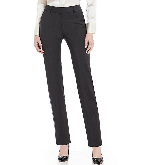 Color:Grey - Image 1 - Alana Wool Straight Leg Pant
