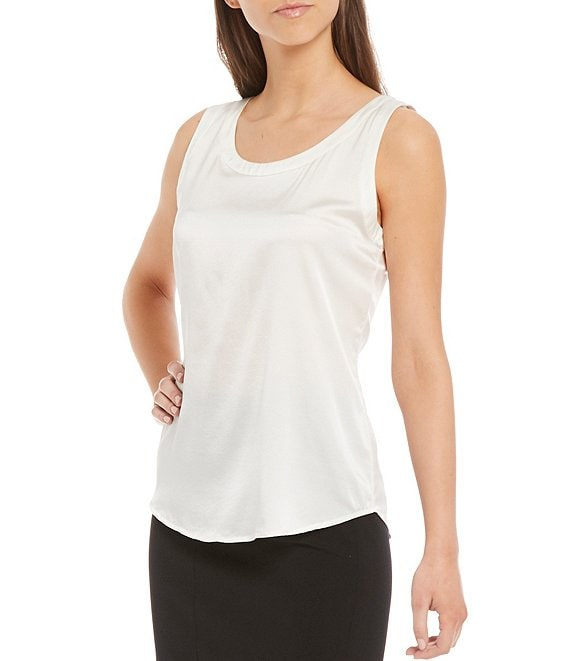 Color:Ivory - Image 1 - Alastair Silk Scoop Neck Tank