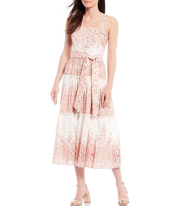 Color:White/Peach - Image 1 - Altamonte Floral Poplin Midi Dress