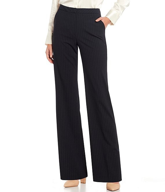 Color:Navy/Ivory - Image 1 - Artemis Wide Leg Pinstripe Wool Blend Suiting Pant