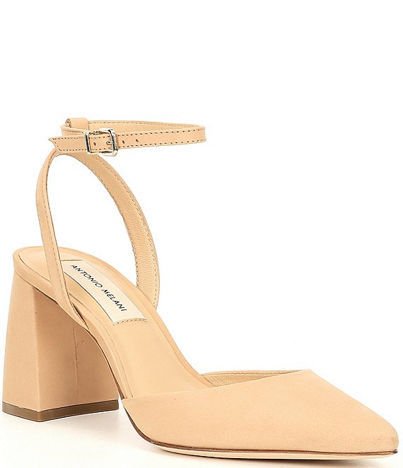Color:Spanish Sand - Image 1 - Callee Ankle Strap Suede Pumps