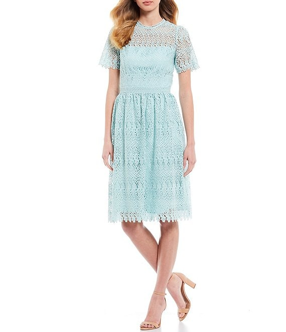 Color:Caribbean - Image 1 - Carolina Short Sleeve A-Line Lace Dress