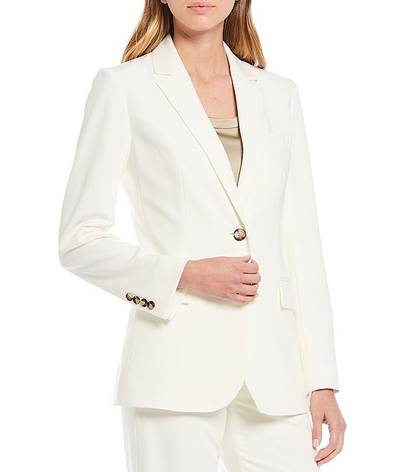 Color:Ivory - Image 1 - Cat Plain-Weave Single Breasted Jacket