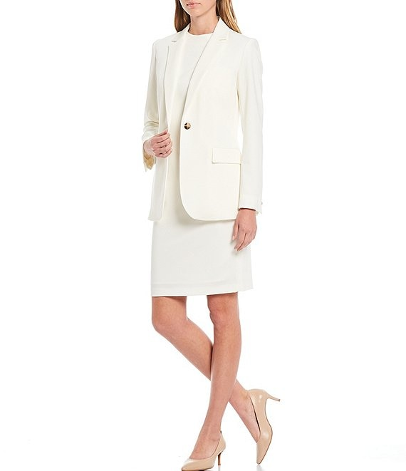 Color:Ivory - Image 4 - Antonio Melani Cat Plain-Weave Single Breasted Jacket