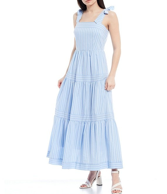 Color:Sky/Ivory - Image 1 - Courtney Yarn Dyed Stripe Square Tie-Shoulder Sleeveless Tiered Ankle Length Dress