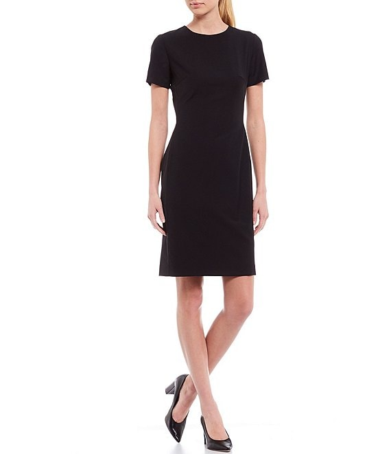 Color:Black - Image 1 - Crissy Short Sleeve Stretch Woven Wool Blend Sheath Dress