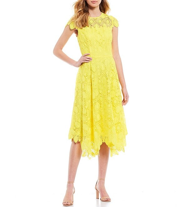 Color:Lemon - Image 1 - Daisy Lace Short Sleeve Midi Dress
