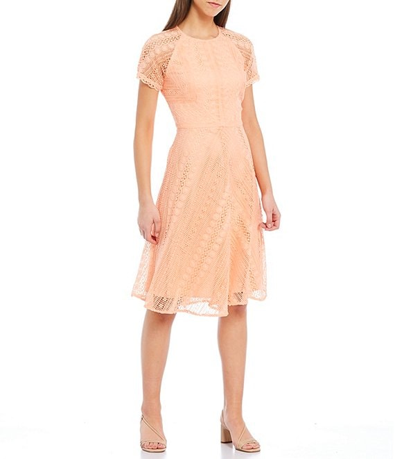 Color:Sunset - Image 1 - Dante Short Raglan Scallop Trim Sleeve Lace Dress
