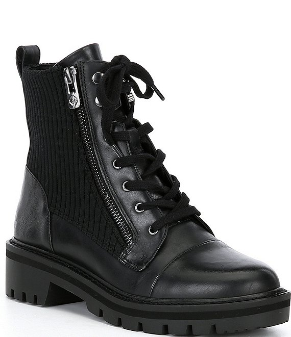 Color:Black - Image 1 - Davon Leather Lug Sole Booties
