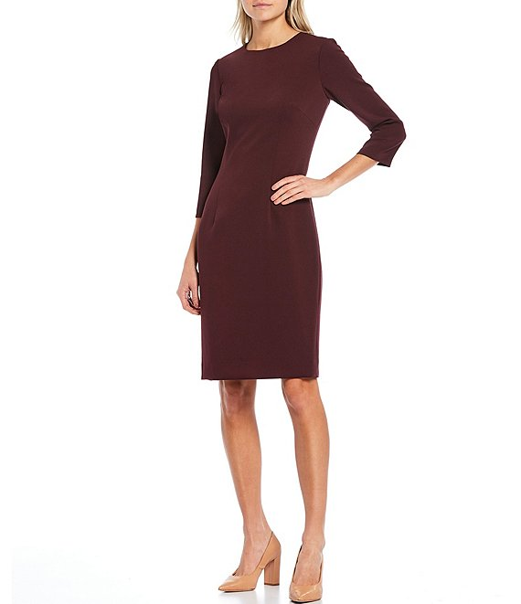 Color:Navy - Image 1 - Del 3/4 Sleeve Stretch Crepe Dress