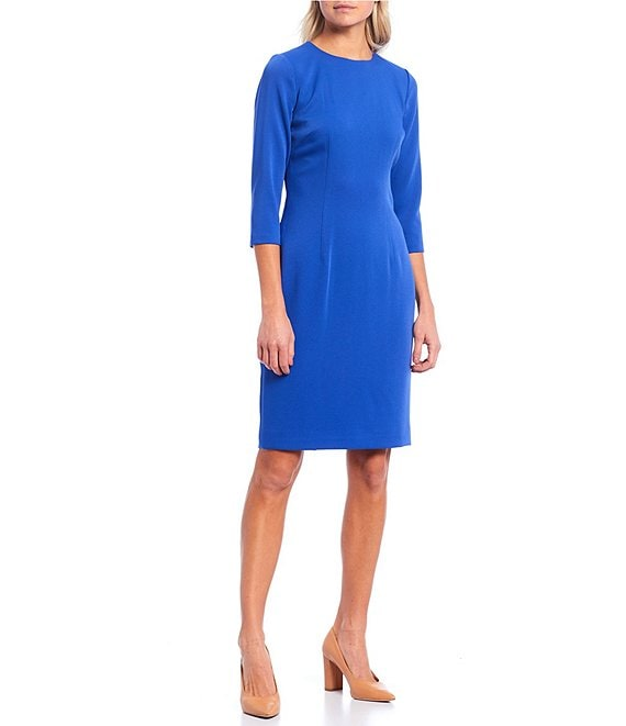 Color:Mosiac Blue - Image 1 - Dell Round Neck 3/4 Sleeve Sheath Dress