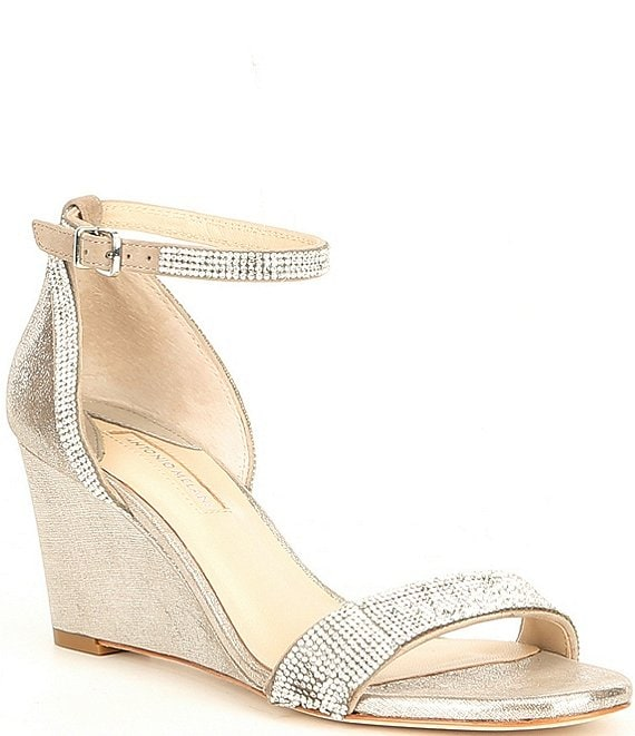 Color:Gilded Grey/Silver - Image 1 - Feenah Suede & Metallic Leather Jewel Embellished Evening Dress Wedges
