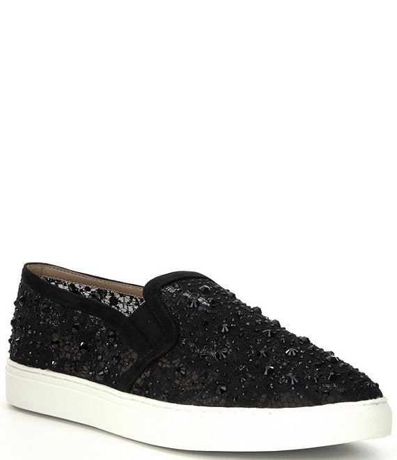 Color:Black - Image 1 - Garner Lace Rhinestone Embellished Slip-On Sneakers