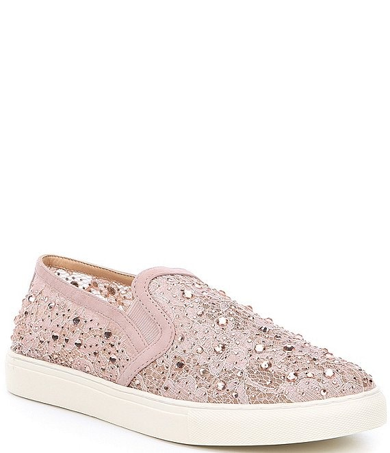 Color:Poised Taupe - Image 1 - Garner Lace Rhinestone Embellished Slip-On Sneakers