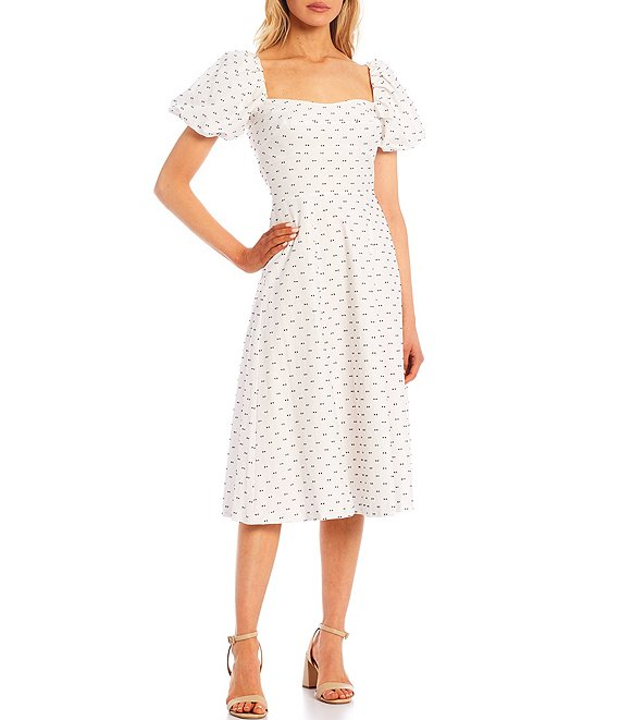 Color:Abyss/White - Image 1 - Gloria Family Matching Puff Sleeve Swiss Dot Midi Dress