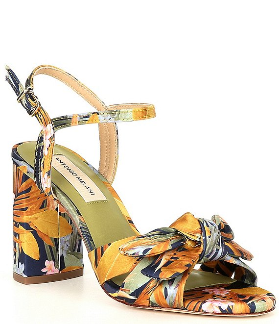 Color:Tropical Print - Image 1 - Gybson Printed Silk Knotted Dress Sandals