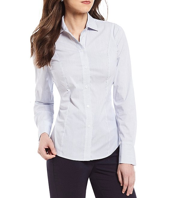 Color:Blue/White - Image 1 - Hannah Pinstripe Pleated Long Sleeve Blouse